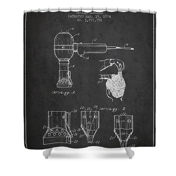 Hair Dryer Patent From 1974 - Charcoal Shower Curtain