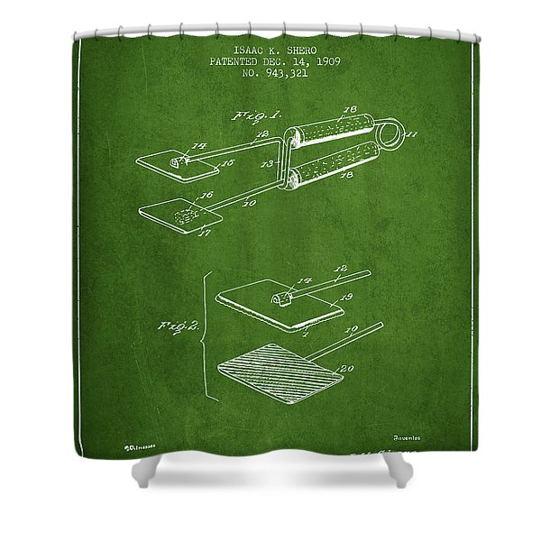 Hair Straightener Patent From 1909 - Green Shower Curtain