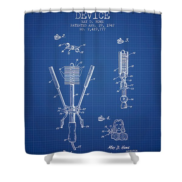Hair Straightening Device Patent From 1947 - Blueprint Shower Curtain