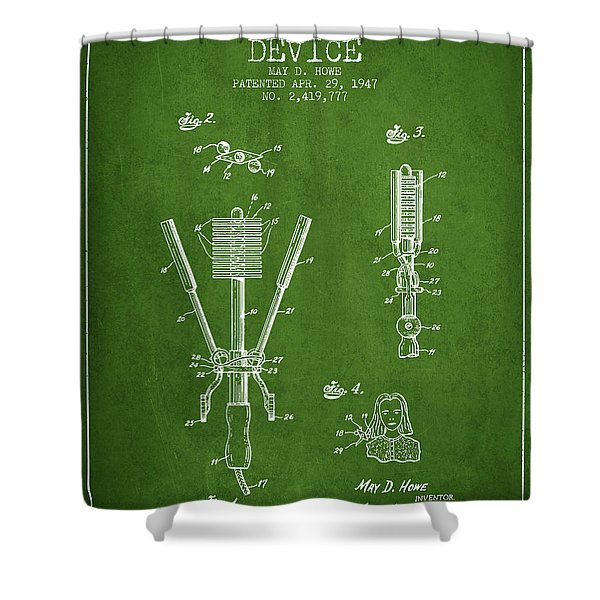 Hair Straightening Device Patent From 1947 - Green Shower Curtain