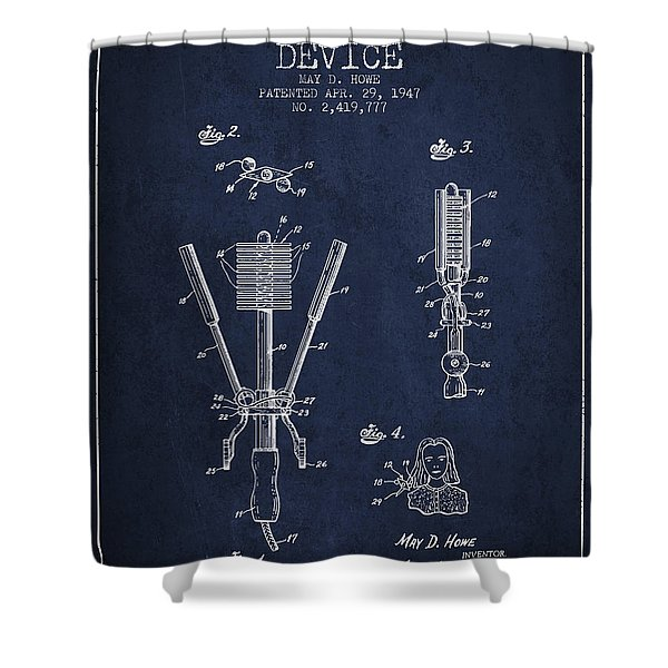 Hair Straightening Device Patent From 1947 - Navy Blue Shower Curtain