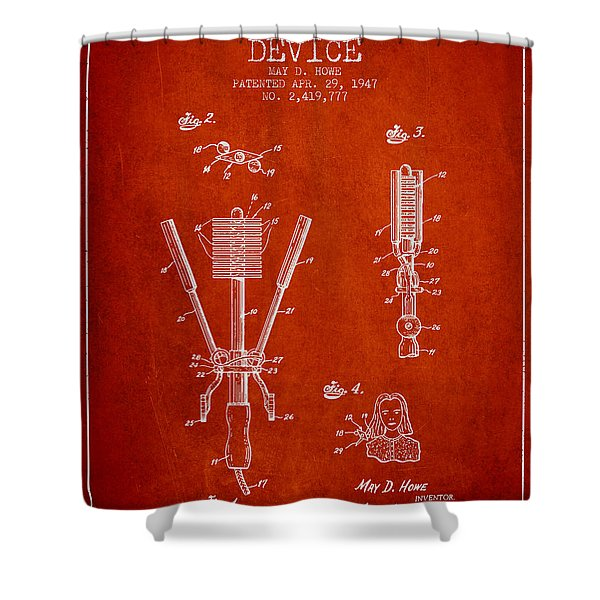 Hair Straightening Device Patent From 1947 - Red Shower Curtain