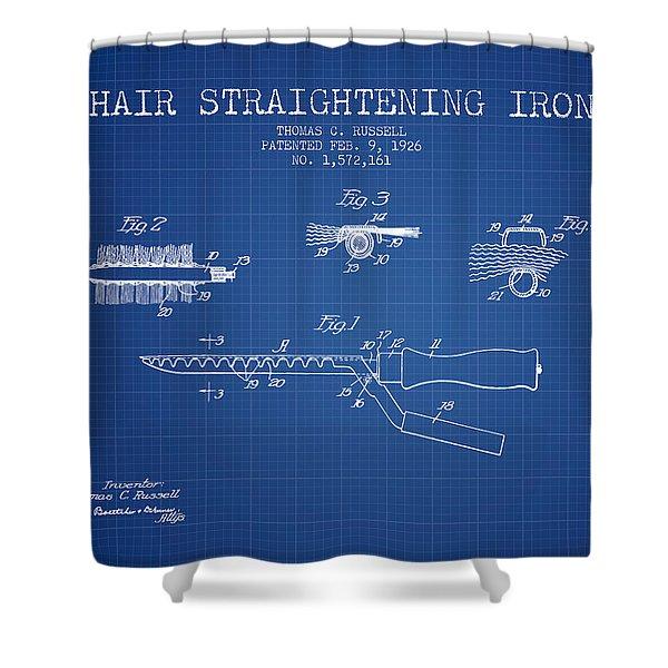 Hair Straightening Iron Patent From 1926 - Blueprint Shower Curtain