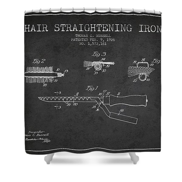 Hair Straightening Iron Patent From 1926 - Charcoal Shower Curtain
