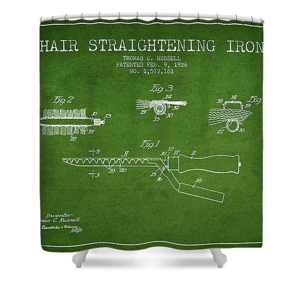 Hair Straightening Iron Patent From 1926 - Green Shower Curtain