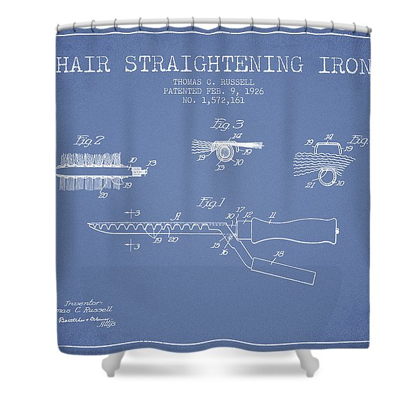 Hair Straightening Iron Patent From 1926 - Light Blue Shower Curtain