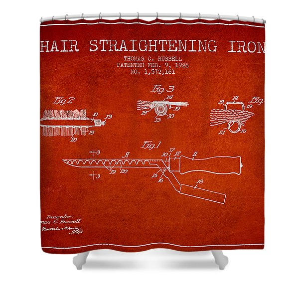 Hair Straightening Iron Patent From 1926 - Red Shower Curtain