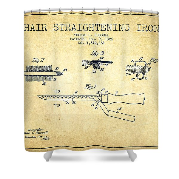 Hair Straightening Iron Patent From 1926 - Vintage Shower Curtain