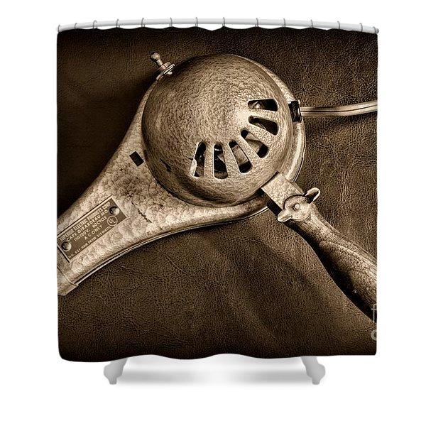 Hair Stylist - Vintage Hair Dryer - Black And White Shower Curtain