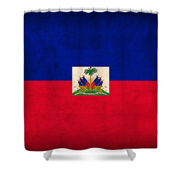 Haiti Flag Vintage Distressed Finish Shower Curtain