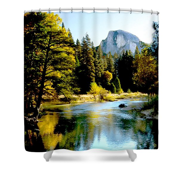 Half Dome Yosemite River Valley Shower Curtain