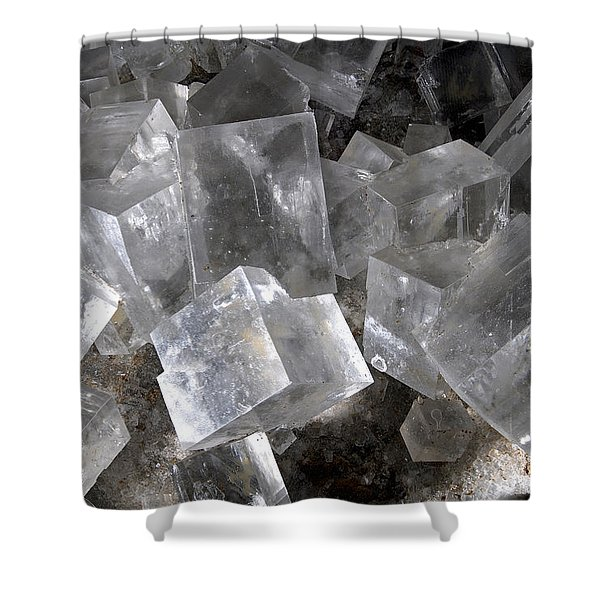 Halite Cubic Crystals Shower Curtain