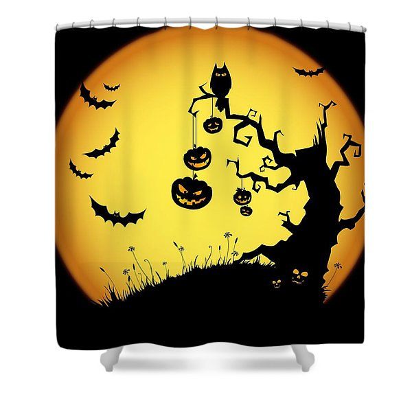 Halloween Haunted Tree Shower Curtain
