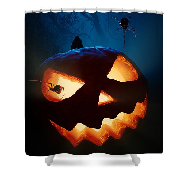 Halloween Pumpkin And Spiders Shower Curtain