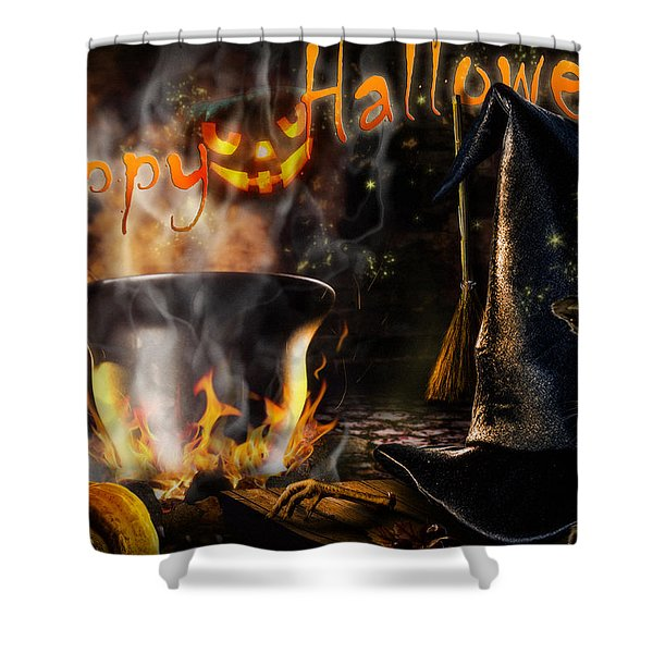 Halloween' Spirit Greeting Card Shower Curtain