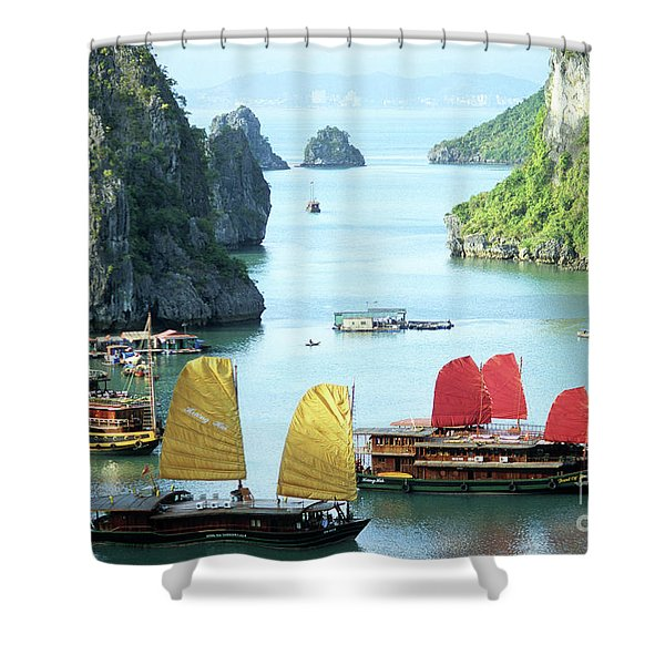 Halong Bay Sails 01 Shower Curtain
