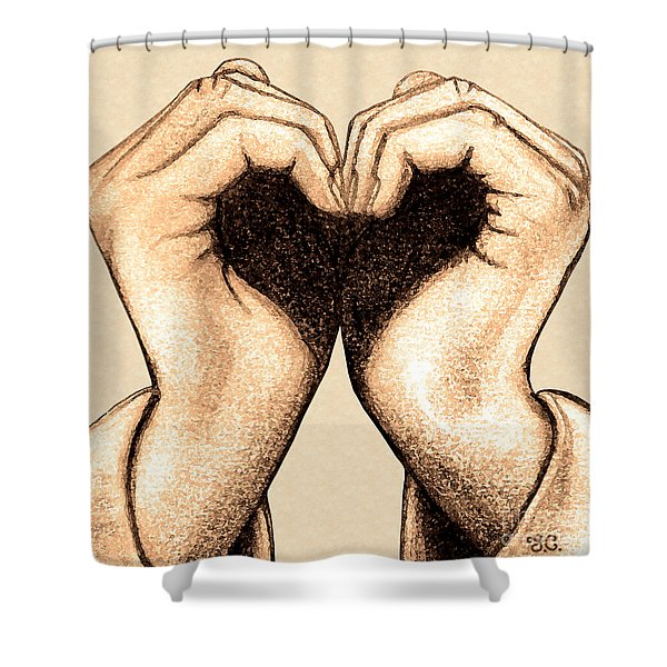 Hand Heart Shower Curtain