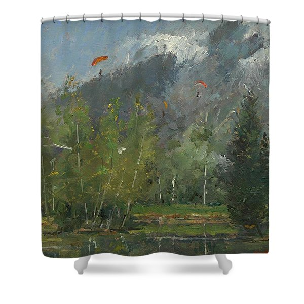 Hang Gliders At Chamonix, 2007 Oil On Canvas Shower Curtain