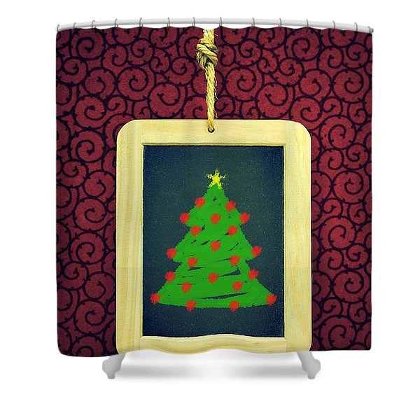 Hanged Xmas Slate - Tree Shower Curtain