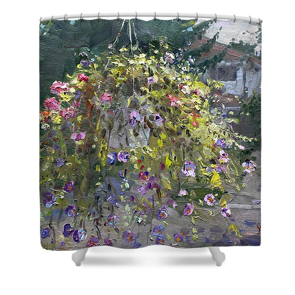 Hanging Flowers From Balcony Shower Curtain