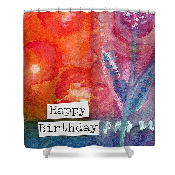 Happy Birthday- Watercolor Floral Card Shower Curtain