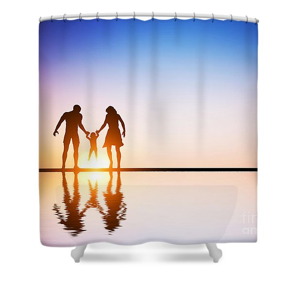 Happy Family Together Parents And Their Child At Sunset Shower Curtain