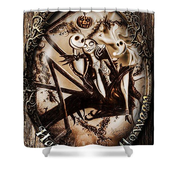 Happy Halloween IIi Sepia Version Shower Curtain