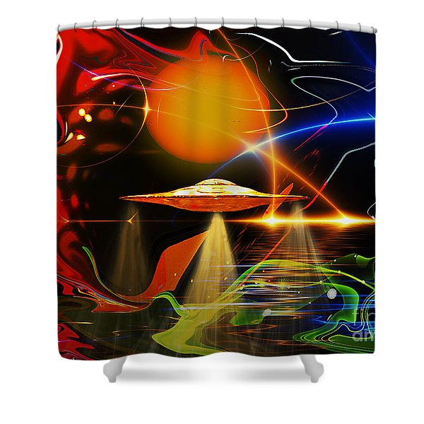 Shower Curtain featuring the digital art Happy Landing by Eleni Mac Synodinos