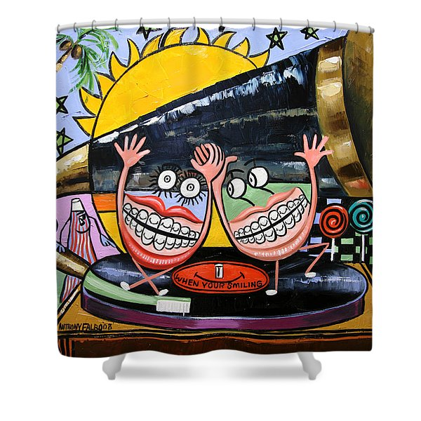 Shower Curtain featuring the painting Happy Teeth When Your Smiling by Anthony Falbo