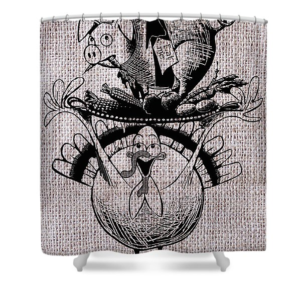 Happy Thanksgiving - Natural Shower Curtain