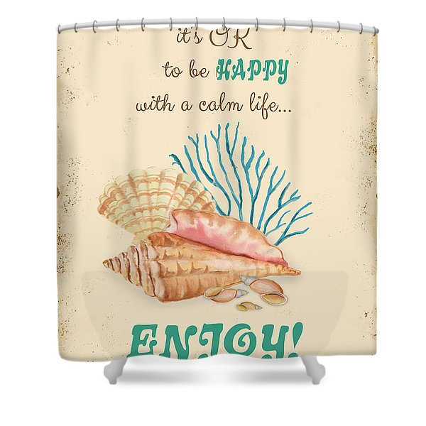 Happy To Be Calm Typography Shower Curtain
