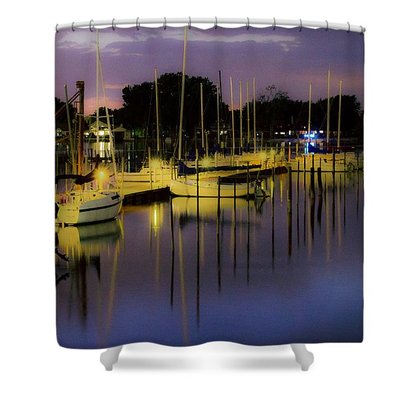 Harbor At Night Shower Curtain