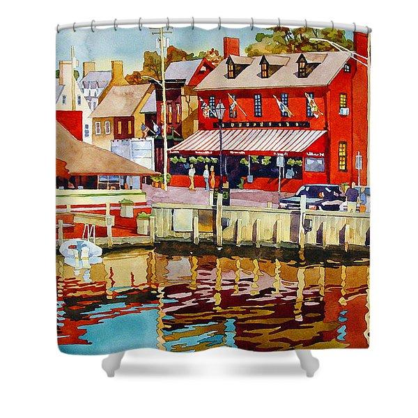 Harborfront Tavern Shower Curtain