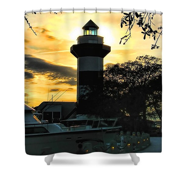 Harbour Town Lighthouse Beacon Shower Curtain