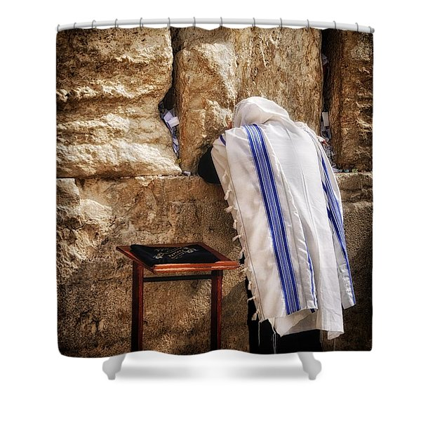 Harken Unto My Prayer O Lord Western Wall Jerusalem Shower Curtain
