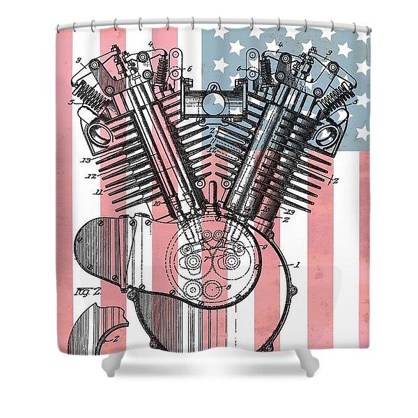 Harley Davidson Engine Patent American Flag Shower Curtain