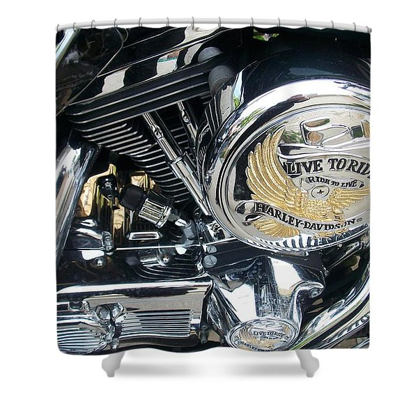 Shower Curtain featuring the photograph Harley Live To Ride by Anita Burgermeister