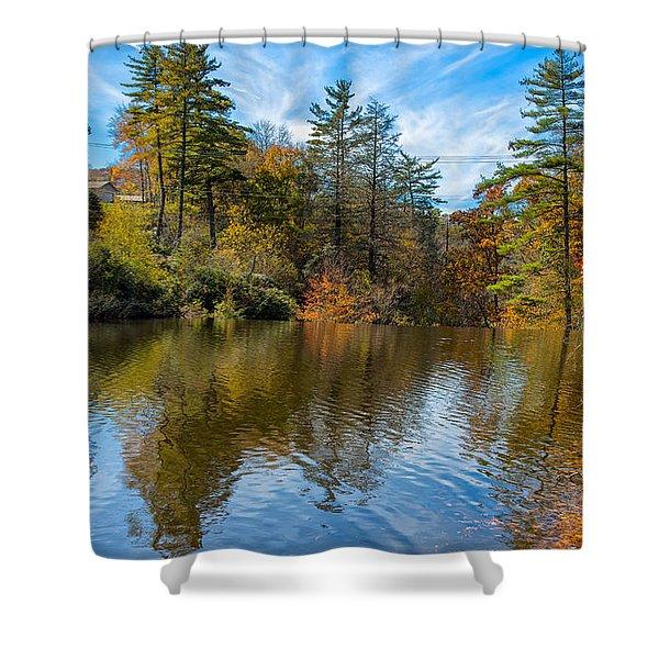 Harris Lake In Autumn Shower Curtain