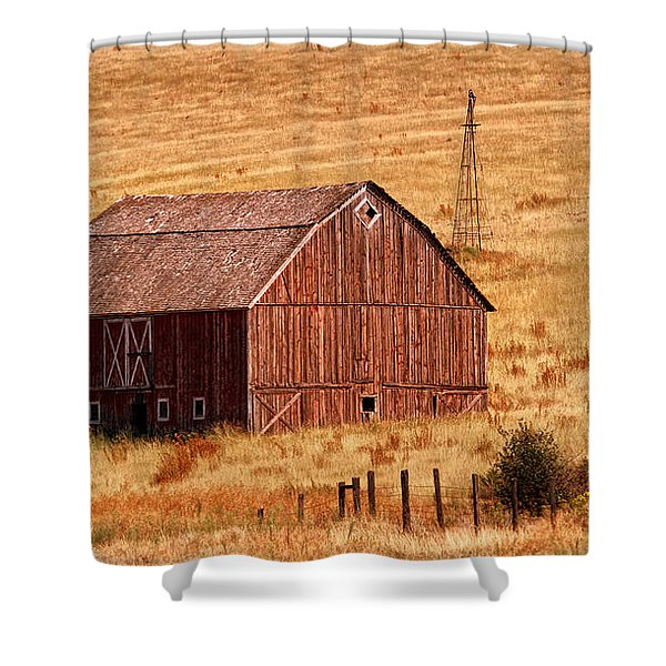 Shower Curtain featuring the photograph Harvest Barn by Mary Jo Allen