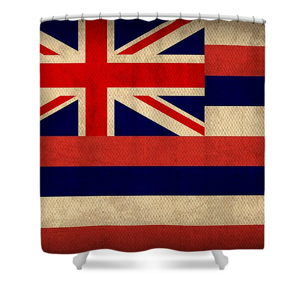 Hawaii State Flag Art On Worn Canvas Shower Curtain