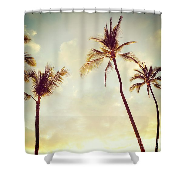 Hawaiian Palms - Hipster Photo Square Shower Curtain
