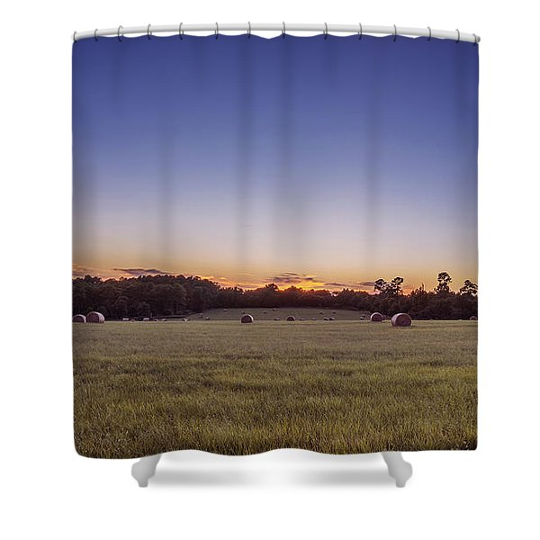 Hay Bales In A Field At Sunset Shower Curtain
