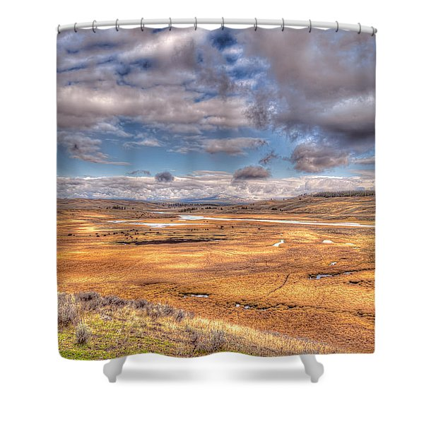Hayden Valley Bison On Yellowstone River Shower Curtain