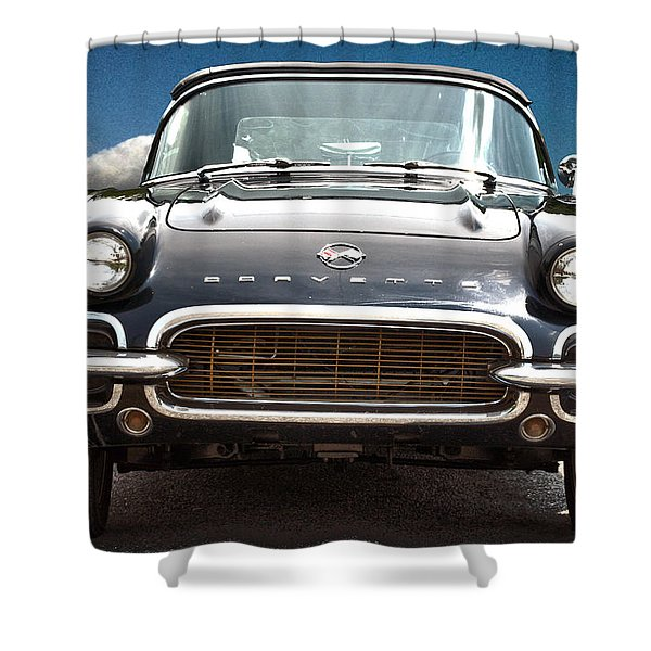 Hdr Vintage Chevrolet Corvette Frontal Shower Curtain