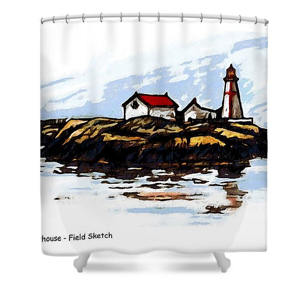 Head Harbour Lighthouse - Field Sketch Shower Curtain