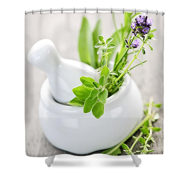 Healing Herbs In Mortar And Pestle Shower Curtain