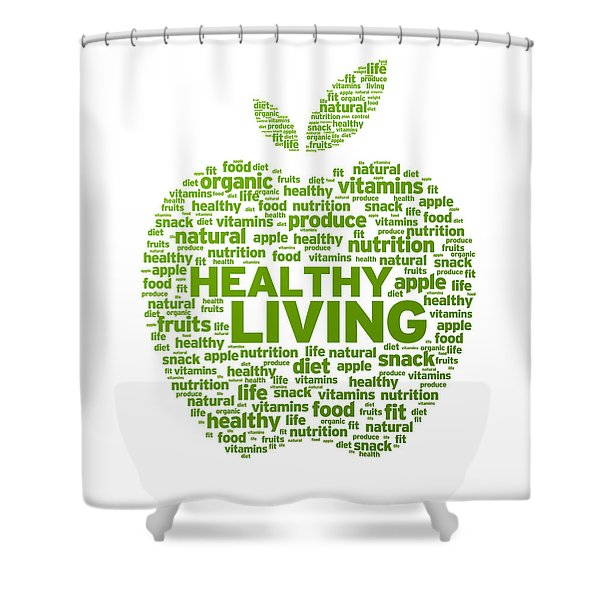Healthy Living Apple Illustration Shower Curtain