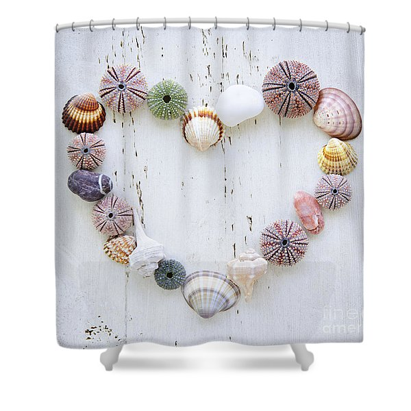Heart Of Seashells And Rocks Shower Curtain