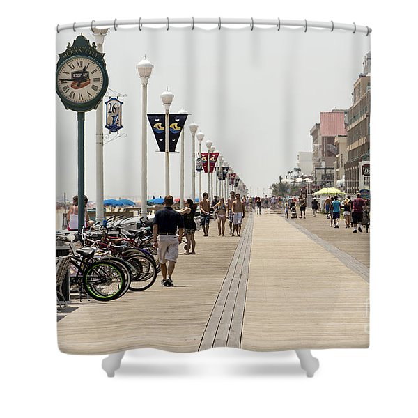 Heat Waves Make The Boardwalk Shimmer In The Distance Shower Curtain