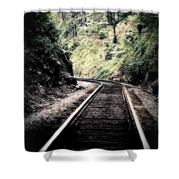 Hegia Burrow Railroad Tracks  Shower Curtain